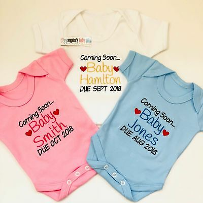 Baby Pregnancy Announcement Personalised Name & Due Date Embroidered Baby Vest