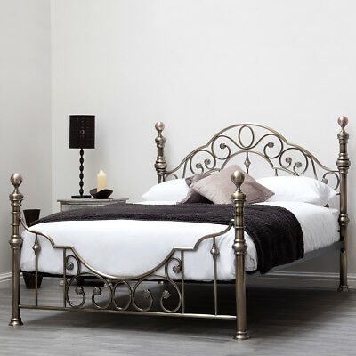 Antique Brass Metal Bed Frame Double King Size Vintage Victorian Shabby Chic