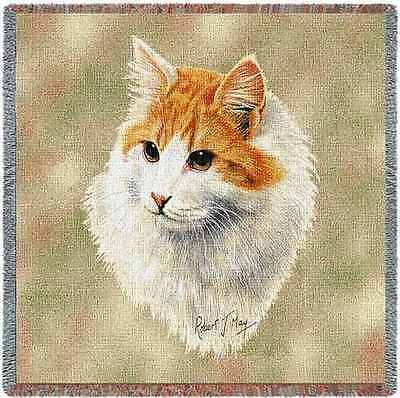 Lap Square Blanket - Red & White Shorthair Cat by Robert May 1956