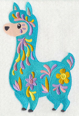 Large Embroidered Zippered Tote - Flower Power Baby Llama M7042