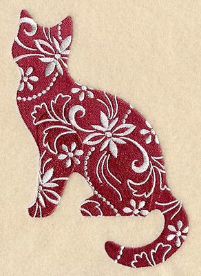 Embroidered Ladies Short-Sleeved T-Shirt - Floral Cat D2624