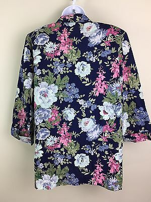 Floral Blazer Women's L Career Blouse Courtney Blake Navy Top