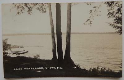 Antique 1946 RPPC Real Photo Postcard Lake Winnecook Unity Maine ME Boats