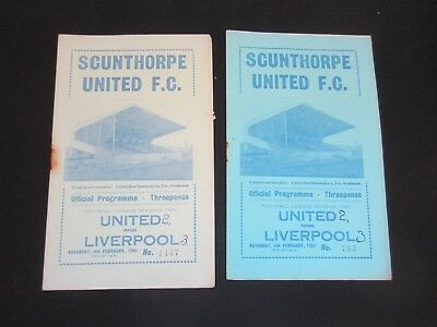 1960-61 DIV 2 SCUNTHORPE UNITED v LIVERPOOL x 2 DIFFERANT COLOURED COVERS