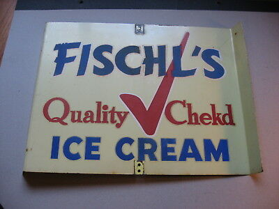 Fischl's Quality Checked Ice Cream 2 Sided Advertising Metal Sign Manitowoc Wis.