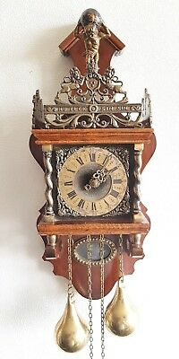 Warmink Zaanse Clock Dutch Nut Wood 8 Day Chain Driven Vintage Bell Strike