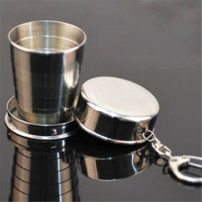 Useful Steel Travel Telescopic Collapsible Shot Glass Emergency Pocket Cup ~