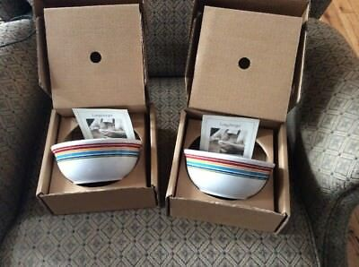 Longaberger Baskets Pottery 4 Sunny Day Stripe Snack Soup Bowls Mib