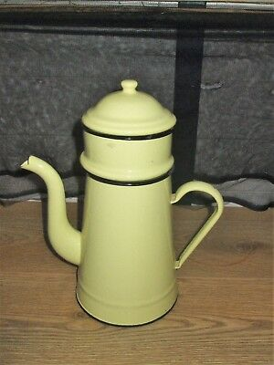 Vintage Retro French Large Yellow And Black Enamel Coffee Pot 1.5Lt Stove Top