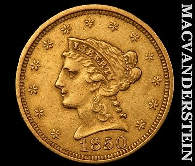 1850 $2.50 Gold Quarter Eagle-Almost Uncirculated!! Luster!! No Reserve!! #y7666