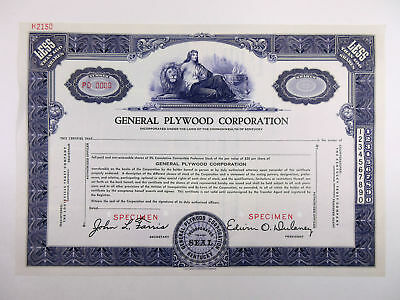 KY. General Plywood Corp., 1960s <100 Shrs Specimen Stock Certificate, XF-Blue