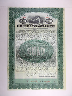 ME. Biddeford & Saco Water Co., 1923 $500 Specimen 5% Series A Gold Bond, XF
