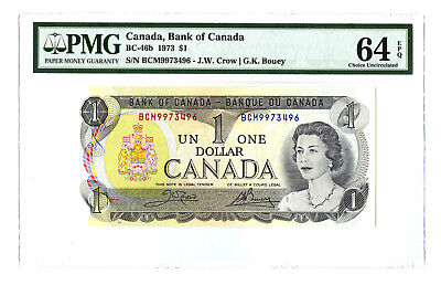 1973 $1 BANK OF CANADA PMG 64 EPQ BC-46b BANKNOTE CHOICE UNCIRCULATED PREFIX BCM