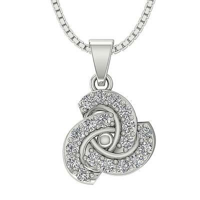 Round Cut Diamond 0.85Ct SI1 H Knot Pendant Necklace Appraisal 14Kt White Gold
