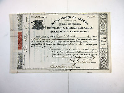 Il&IN. Chicago & Great Eastern Railway Co., 1867 100 Shrs I/C Stock Certificate