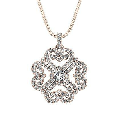Designer Cluster Pendant Necklace SI1 H 1.35Ct Round Cut Diamond 14Kt Rose Gold