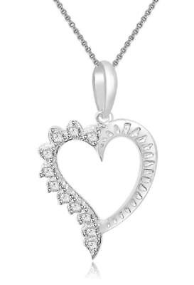 Real Diamond 1.00Inch Heart Pendant Necklace I1 H 0.30Ct 14Kt White Yellow Gold
