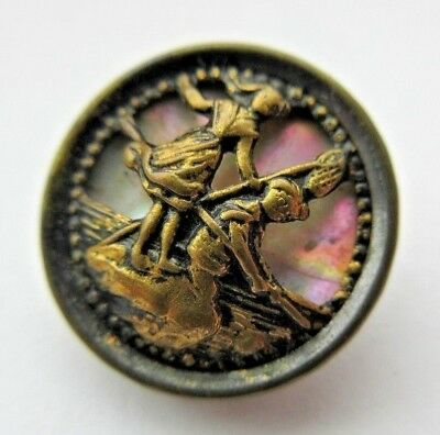 Wonderful Antique Victorian Metal Picture BUTTON w/ Carved MOP Shell Back (D9)