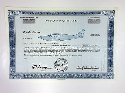 TX. Windecker Industries, Inc, 1971 Odd Shrs Specimen Stock Certificate, XF FBNC