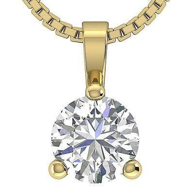 Martini Set 0.25Ct Round Cut Diamond 14K Yellow Gold Solitaire Pendant Necklace