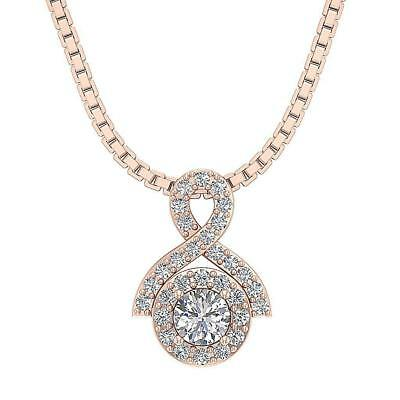 Round Diamond Halo Solitaire Cluster Pendant Necklace SI1 H 0.60Ct 14K Rose Gold