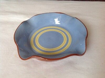 Vintage Rare Brooklin MAINE Pottery Trinket Dish Ashtray In Blue & Yellow Signed