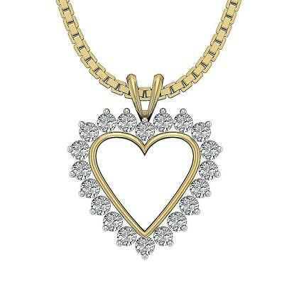 Heart Pendant Necklace SI1-SI2 H 0.40Ct Real Diamond Prong Set 14K Two-Tone Gold