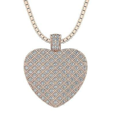 Heart Pendant Necklace SI1 H 0.60Ct Real Diamond Pave Set White Yellow Rose Gold