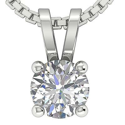 Solitaire Pendant Necklace Real Diamond SI1 H 0.60Ct White Gold Four Prong Set
