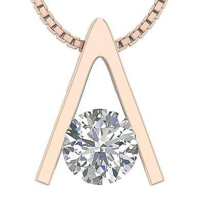 Real Round Diamond 0.25Carat Solitaire Pendant 14Kt Rose Gold Appraisal Bar Set