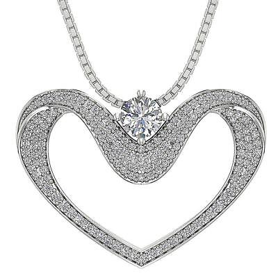 SI1 H 1.55Ct Round Cut Diamond Heart Pendant Necklace 14Kt White Gold 1.02Inch