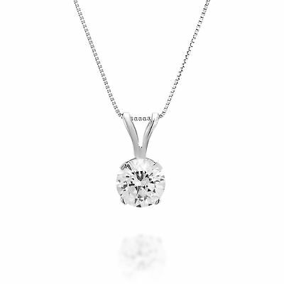 1.25 CT Round New Solitaire Enhanced Diamond Pendant Chain 14K White Gold H/SI1