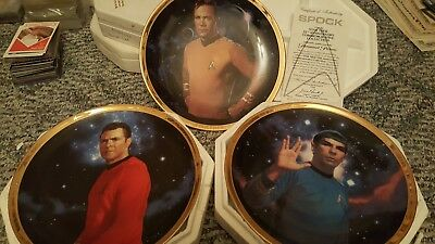 Star Trek Hamilton Collection Plates Set of 3 25th ANNIVERSARY COLLECTION