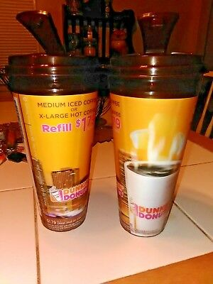 2 Dunkin Donuts  Travel mugs Coffee cup 24oz $1.79 Refill Expired Date-Iced /Hot