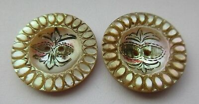 Fabulous Lot of 2 Antique Carved Shell BUTTON w/ Etched & Painted Design (D14)