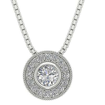 Circle Halo Cluster Pendant 0.85Ct Genuine Diamond 14K Solid White Gold 10.35 MM