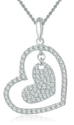 Love Of Heart Pendant Necklace 1.20 Ct Natural Diamond 14Kt White Gold 0.80 Inch