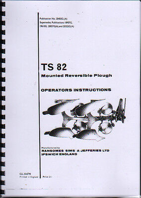 """Ransomes """"TS 82"""" Reversible Plough Instruction and Illustrated Parts Book"""