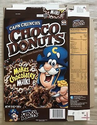 Vintage 2003 Quaker Oats Cap'n Crunch Choco Donuts Cereal Box,Unused Flat