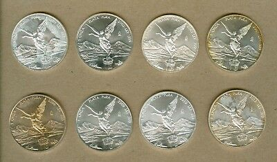 Eight Different Mexico Silver Libertad 1oz UNC Silver Eight Coin Set