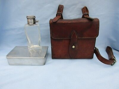 Vtg Brooks Brothers Equestrian Fox Hunting Leather Saddle Bag Pouch w/ Flask
