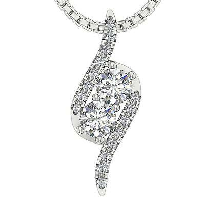 Forever Us 2 Stone Diamond Fashion Pendant 0.50C White Yellow Rose Gold 0.70Inch