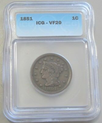 1851 Large Cent Icg Vf 20 Solid Eye Appeal