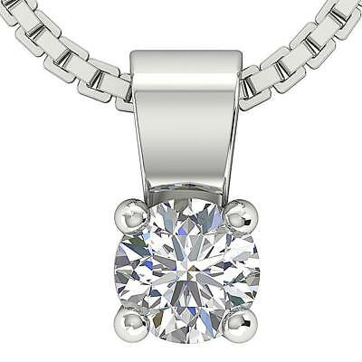 Solitaire Pendant Necklace 0.25Ct SI1 H Round Diamond 14Kt White Gold Appraisal