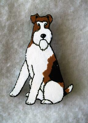 FOX TERRIER DOG Pin ~ Hand-Painted Artisan Jewelry Crafted in the USA
