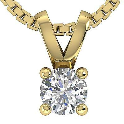 SI1 H 0.25Ct Round Diamond Solitaire Pendant Necklace Four Prong 14K Yellow Gold