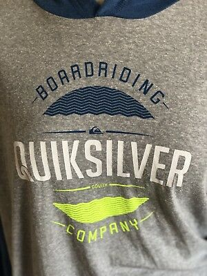 Quicksilver Boys T-Shirt Pull Over Hoodie SizeXL 18-20 Gray Blue NWTS $36