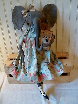 Primitive Grungy Ella the Circus Elephant Doll & Her Bag of Peanuts