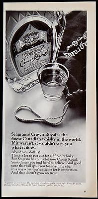"Vintage 1969 Seagram's Crown Royal ""Expensive"" Canadian Whiskey Magazine Ad"