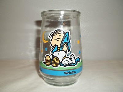 "Vintage Welch's Peanuts Linus & Snoopy #2 Glass Jelly Jar "" A Lap For A Nap"""